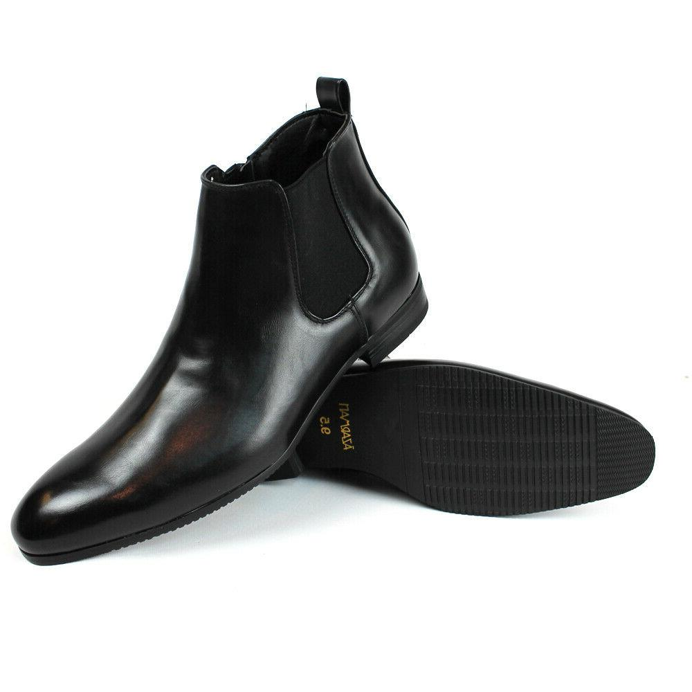 black leather mens ankle dress boots side