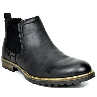 Men's Classic Leather Dress Casual Chelsea Elastic Slip On A