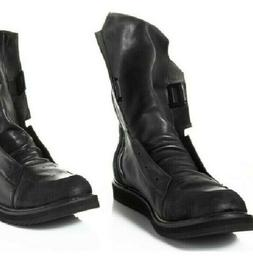 Men's Black Leather Motorcycle Boots - Classic Vintage 10.