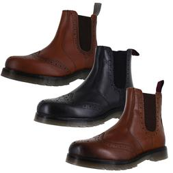 Mens Catesby Real Leather Chelsea Brogue Dealer Boots Cushioned Airsole Size