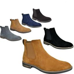 Mens Slip On Chelsea Ankle Boots Suede Leather Chukka Dress