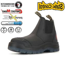 ROCKROOSTER Steel Toe Mens Work Boots Slip On Safety Boots S